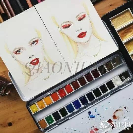 时装手绘 - 秀场后台模特 - 手绘头像